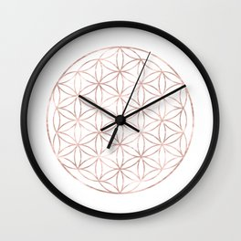 Mandala Rose Gold Flower of Life Wall Clock