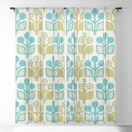 Mid Century Garden Flower Pattern Turquoise Chartreuse Sheer Curtain
