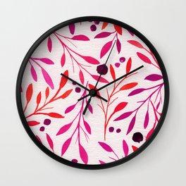 Fall Leaves - Fuschia Fall Florals Wall Clock