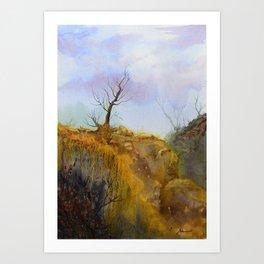 The old tree landscape Art Print