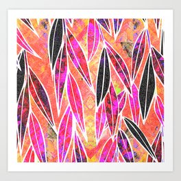 Autumn Sunset Bamboo leaves Art Print