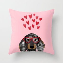 Dachshund dog breed pet art valentines day doxie must haves Throw Pillow