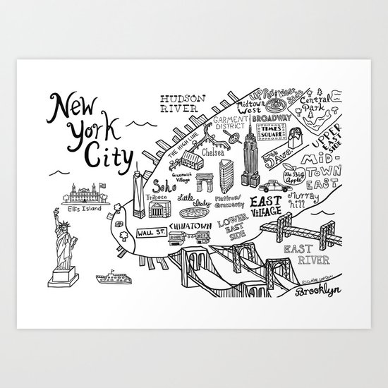 New York City Map Art Print By Claire Lordon Society - New york city map drawing