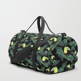Happy Toucans And Tropical Leaves-Pattern Duffle Bag