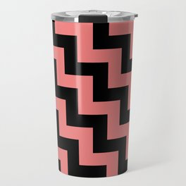Black and Coral Pink Steps LTR Travel Mug