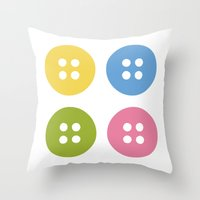 sewing Throw Pillows featuring Sewing Button by Casa Inventada