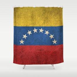 Old and Worn Distressed Vintage Flag of Venezuela Shower Curtain