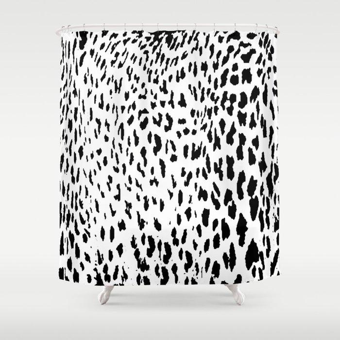 Cheetah II Black White Animal Print Shower Curtain