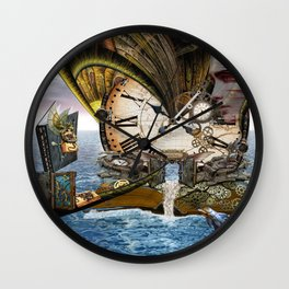 Steampunk Ocean Dragon Library Wall Clock