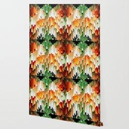 Geometric Tiled Orange Green Abstract Design Wallpaper