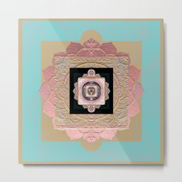 Rose Gold and Muted Turquoise Lakshmi Soul Mandala Metal Print