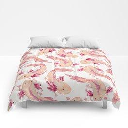 Mexican Axolotls Watercolor Comforters