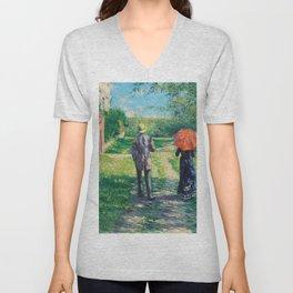 Gustave Caillebotte - Chemin Montant - Digital Remastered Edition Unisex V-Neck