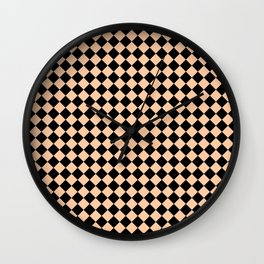 Black and Deep Peach Orange Diamonds Wall Clock