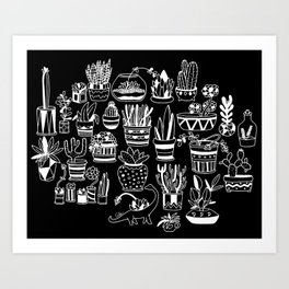 Succulent Party (Night Version) Art Print