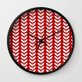 Red and White Scandinavian leaves pattern Wall Clock