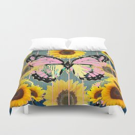 ABSTRACT PINK BUTTERFLY TEAL GARDEN SUNFLOWER Duvet Cover
