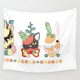 Fruit animals a pear horse, an apple cat, a mandarin orange rabbit, with green caterpillars (remake) Wall Tapestry