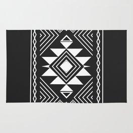 Aztec boho ethnic black and white Rug