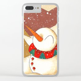 Mountainside Snowfall Clear iPhone Case