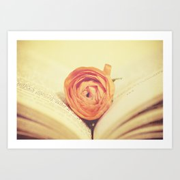 {Old Book and Ranunculus} Art Print