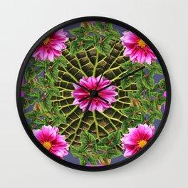 Abstracted Fuchsia Pink Dahlias Stylized Garden Pattern Wall Clock