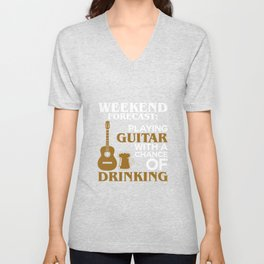 Weekend Forecast Playing Guitar With Drinking Rock Unisex V-Neck