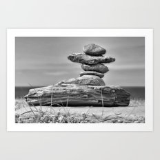 The Cairn in Black and White Art Print