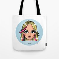 shameless Tote Bags featuring Britney Cartoon: Shameless by Eduardo Sanches Morelli