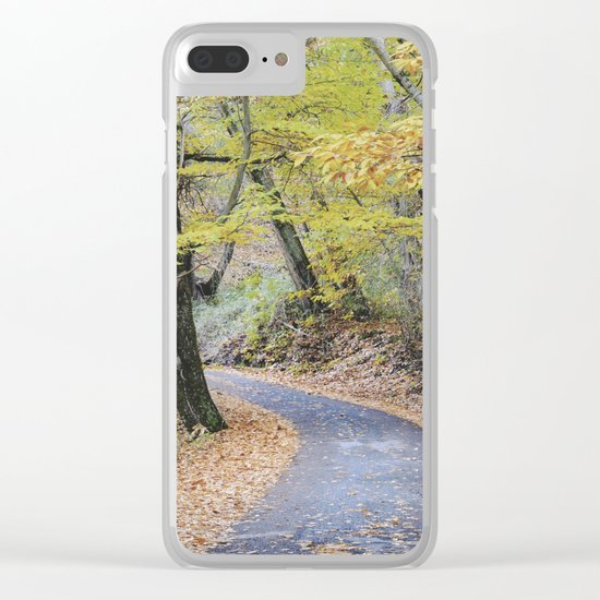 Into the autumn woods Clear iPhone Case