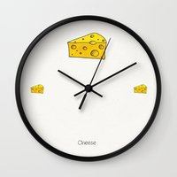 cheese Wall Clocks featuring Cheese by Studio14