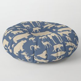 African Fauna // Khaki & Navy Floor Pillow