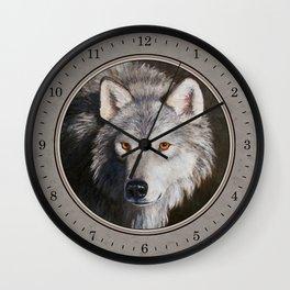 Gray Wolf Face Wall Clock