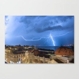 Storm lightning in the Strait of Messina Canvas Print