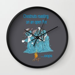 "Snowmen singing a holiday classic, ""Chestnuts Roasting on an open fire"" Wall Clock"