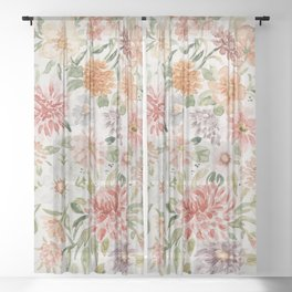 Loose Peachy Dahlia Watercolor Bouquet Sheer Curtain