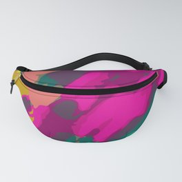 pink green and blue painting abstract background Fanny Pack