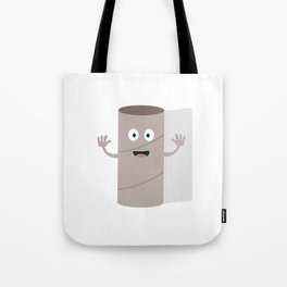 Empty Toilet paper roll with face Tote Bag