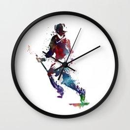 Lacrosse player art 3 Wall Clock