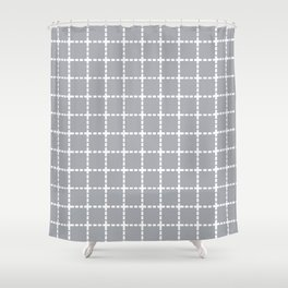 Dotted Grid Grey Shower Curtain