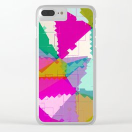 geometric square pixel and triangle pattern abstract in pink green blue Clear iPhone Case