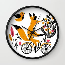 Fancy Mister Foxly Meets A Feathered Friend Wall Clock