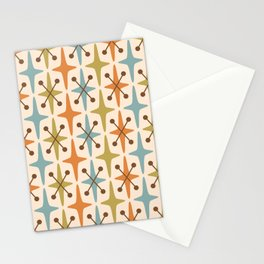 Mid Century Modern Abstract Star Pattern 441 Orange Brown Blue Olive Green Stationery Cards