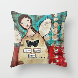 Love Lives Here by Croppin' Spree Throw Pillow