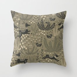 Deer and Bunnies in the Meadow Throw Pillow