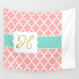 """Coral Moroccan Print with """"H"""" Monogram Wall Tapestry"""