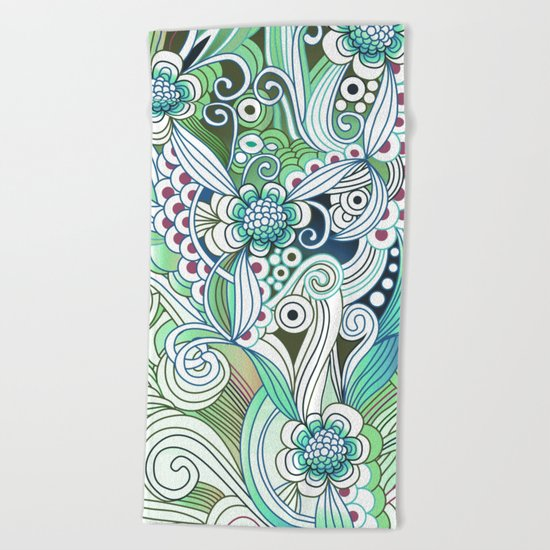 Zentangle Flower fire, green doodle Beach Towel