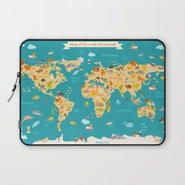 Animal map for kid. World vector poster Laptop Sleeve