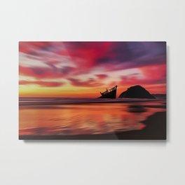 Pink Sunset at Blue Shutters - East Beach, Rhode Island Metal Print