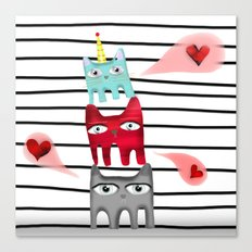 Cat Love Quote /  Striped black and white Canvas Print